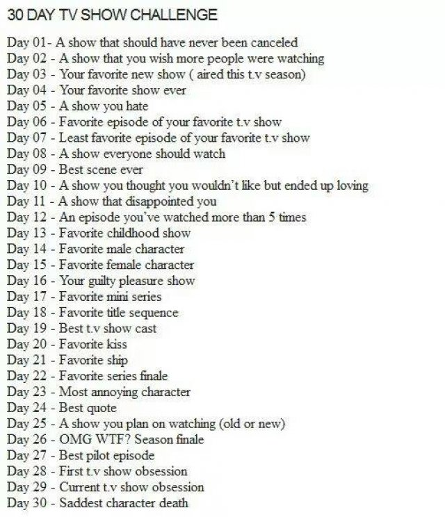 30 Days TV Show Challenge - Immagine 1