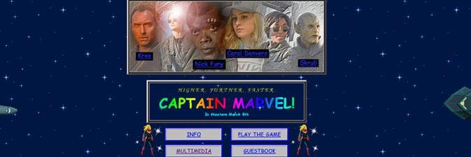 Un tuffo nel passato per il sito di Captain Marvel