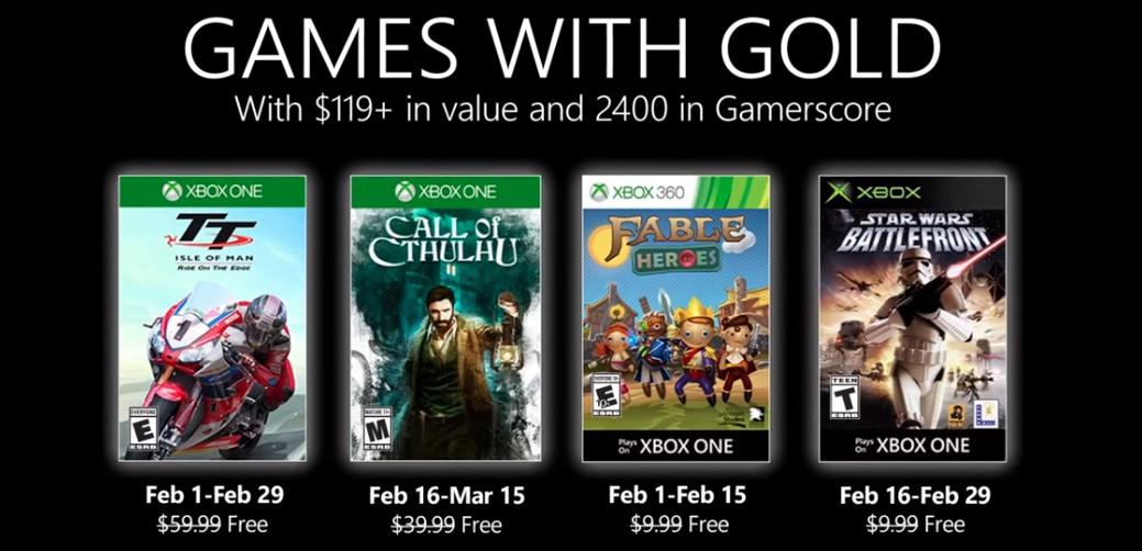 Games With Gold di Febbraio: ecco quali sono